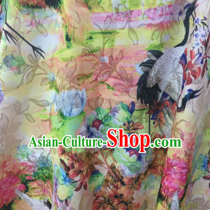 Chinese Traditional Apparel Fabric Printing Cranes Brocade Classical Pattern Design Silk Material Satin Drapery