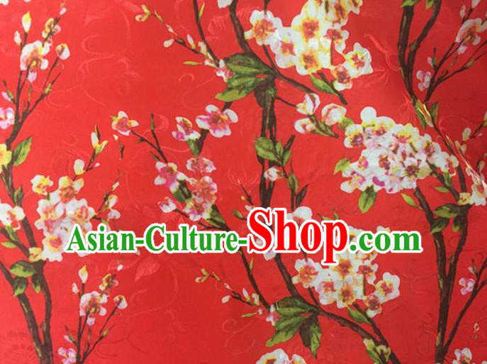 Chinese Traditional Apparel Fabric Printing Peach Blossom Red Brocade Classical Pattern Design Silk Material Satin Drapery