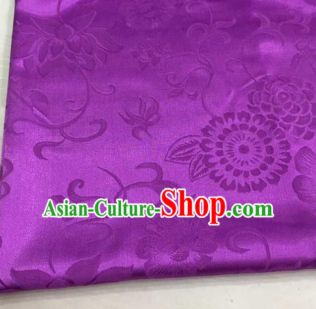 Chinese Traditional Apparel Fabric Purple Brocade Classical Pattern Design Silk Material Satin Drapery