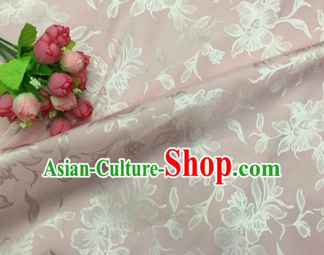 Chinese Traditional Apparel Fabric Pink Qipao Brocade Classical Pattern Design Silk Material Satin Drapery