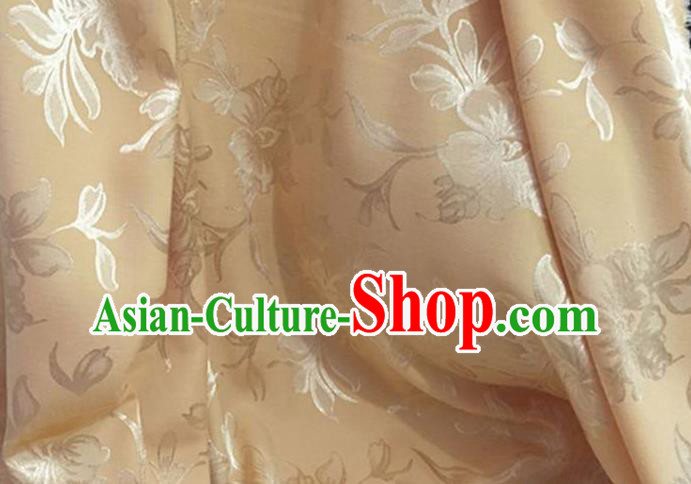 Chinese Traditional Apparel Fabric Light Golden Qipao Brocade Classical Peony Pattern Design Silk Material Satin Drapery
