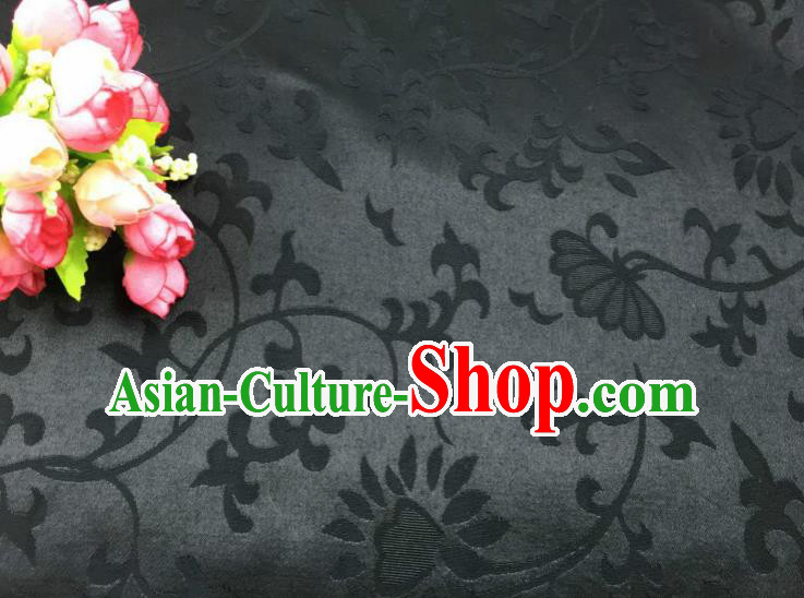 Chinese Traditional Apparel Fabric Qipao Black Brocade Classical Pattern Design Silk Material Satin Drapery