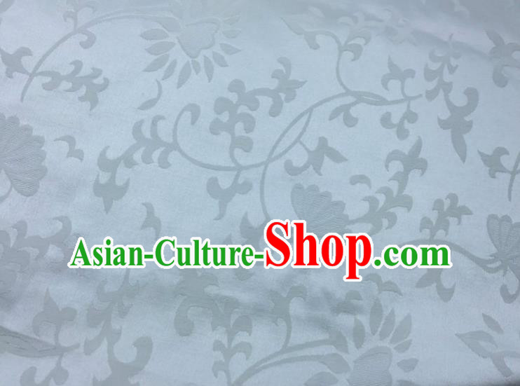 Chinese Traditional Apparel Fabric Qipao White Brocade Classical Pattern Design Silk Material Satin Drapery