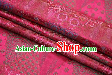 Chinese Traditional Apparel Fabric Tibetan Robe Rosy Brocade Classical Pattern Design Material Satin Drapery