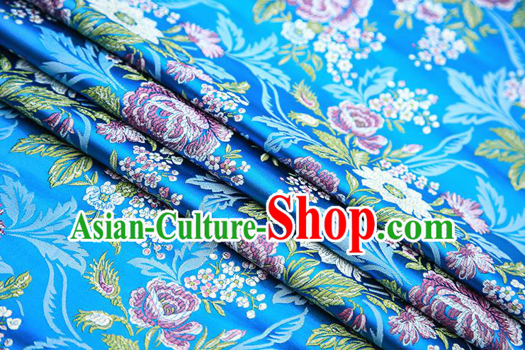 Chinese Traditional Bride Apparel Fabric Blue Brocade Classical Peony Pattern Design Material Satin Drapery