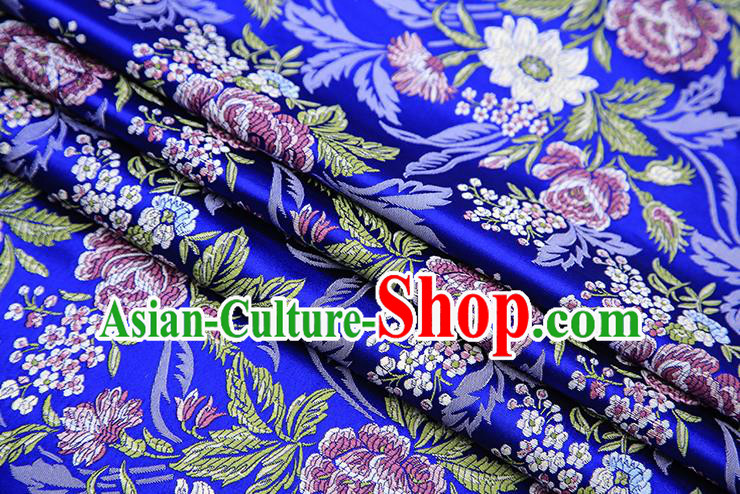 Chinese Traditional Bride Apparel Fabric Royalblue Brocade Classical Peony Pattern Design Material Satin Drapery