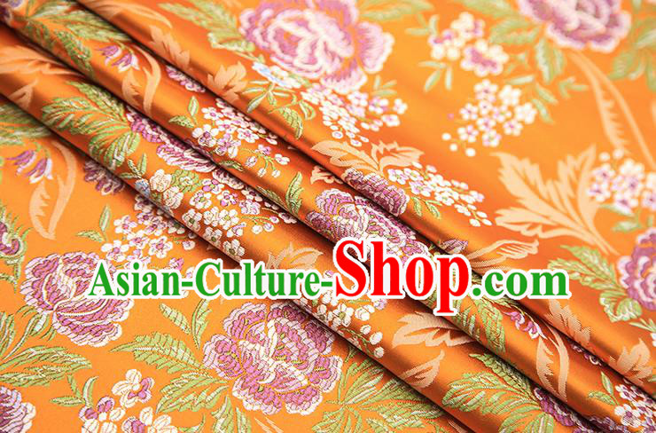 Chinese Traditional Bride Apparel Fabric Orange Brocade Classical Peony Pattern Design Material Satin Drapery