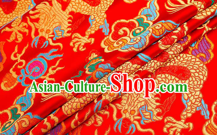 Chinese Traditional Red Nanjing Brocade Satin Fabric Tang Suit Material Classical Peony Pattern Design Drapery