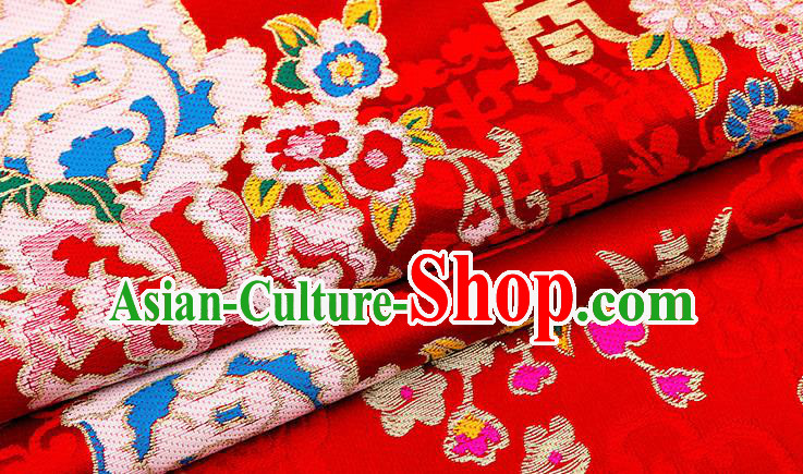 Chinese Traditional Red Nanjing Brocade Satin Fabric Tang Suit Material Classical Longevity Peony Pattern Design Drapery