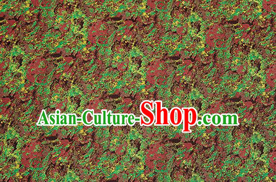 Chinese Traditional Satin Classical Pattern Design Green Brocade Fabric Qipao Dress Material Drapery