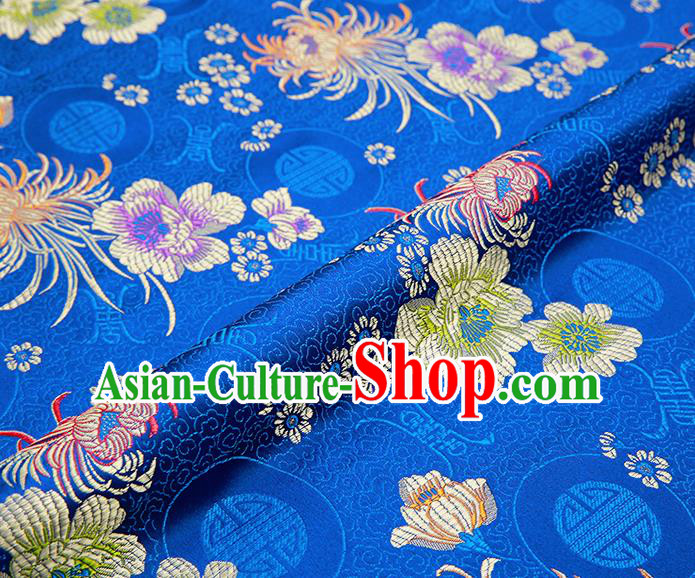 Chinese Traditional Blue Satin Classical Chrysanthemum Peony Pattern Design Brocade Fabric Tang Suit Material Drapery