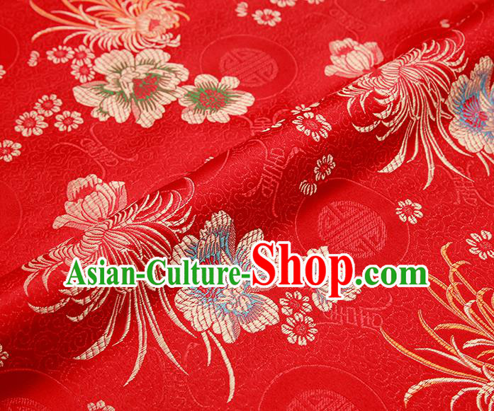 Chinese Traditional Red Satin Classical Chrysanthemum Peony Pattern Design Brocade Fabric Tang Suit Material Drapery