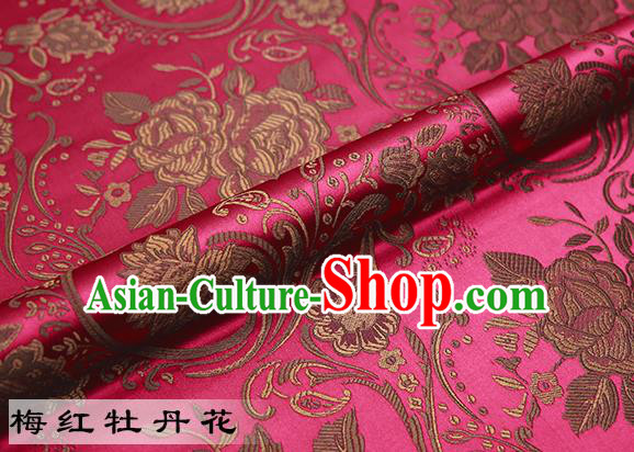Chinese Traditional Rosy Satin Classical Peony Pattern Design Brocade Fabric Tang Suit Material Drapery