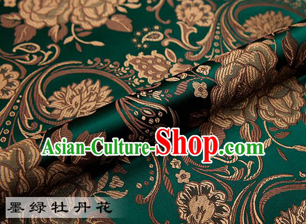 Chinese Traditional Atrovirens Satin Classical Peony Pattern Design Brocade Fabric Tang Suit Material Drapery