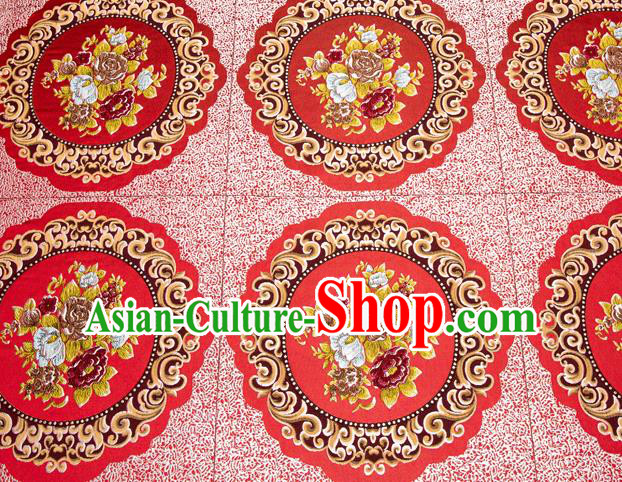 Top Grade Classical Flowers Pattern Red Brocade Chinese Traditional Garment Fabric Cushion Satin Material Drapery
