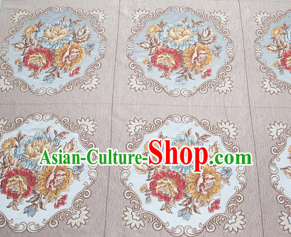 Top Grade Classical Flowers Pattern Grey Brocade Chinese Traditional Garment Fabric Cushion Satin Material Drapery