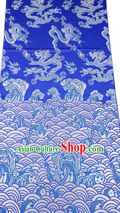 Top Grade Classical Dragons Pattern Blue Brocade Chinese Traditional Garment Fabric Cushion Satin Material Drapery