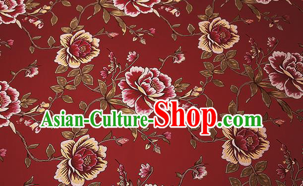 Top Grade Classical Peony Pattern Red Brocade Chinese Traditional Garment Fabric Cushion Satin Material Drapery
