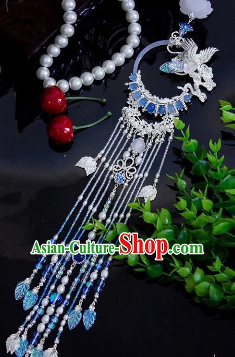 Chinese Traditional Handmade Palace Crane Waist Accessories Tassel Jade Pendant for Men