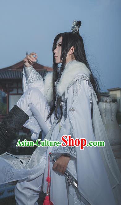 Chinese Ancient Cosplay Swordsman White Costumes Traditional Nobility Childe Hanfu Clothing for Men