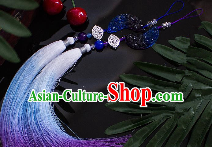 Chinese Traditional Handmade Palace Waist Accessories Tassel Blue Jade Pendant for Men