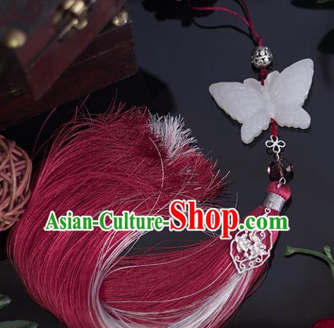 Chinese Traditional Handmade Waist Accessories Palace Red Tassel Butterfly Jade Pendant for Men