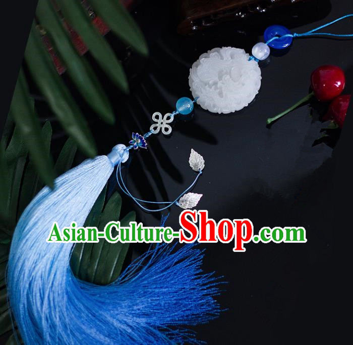 Chinese Traditional Handmade Blue Tassel Waist Accessories Palace Jade Pendant for Men