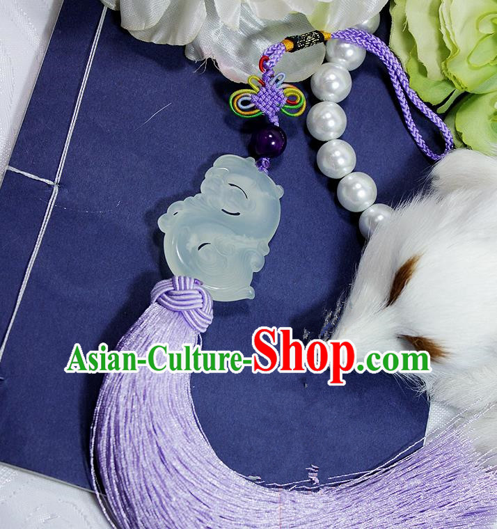 Chinese Traditional Handmade Purple Tassel Waist Accessories Palace Jade Pendant for Men