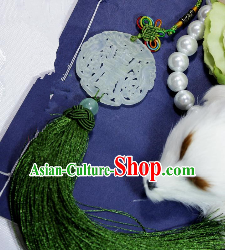 Chinese Traditional Handmade Green Tassel Waist Accessories Palace Longevity Jade Pendant for Men