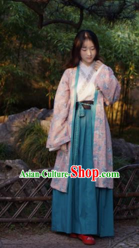 Traditional Chinese Song Dynasty Young Lady Hanfu Dress Ancient Peri Embroidered Costumes for Women