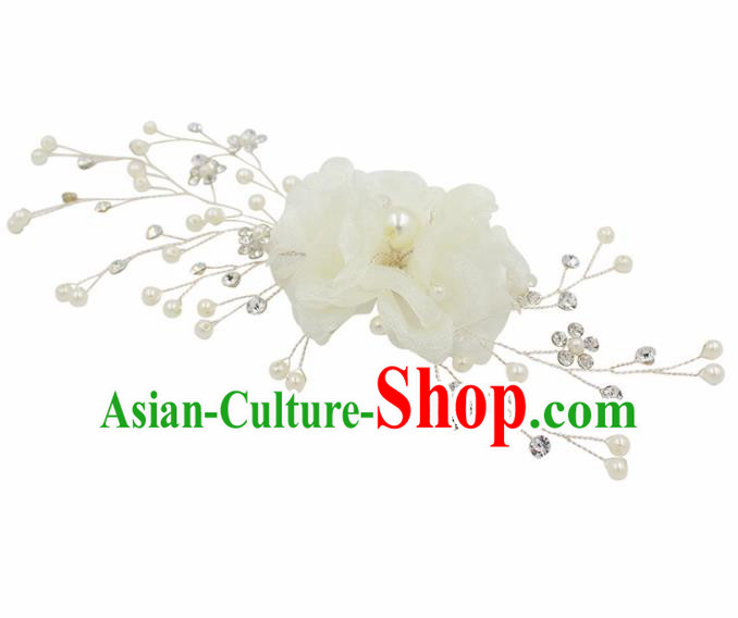Top Grade Handmade Bride White Silk Flowers Hair Comb Baroque Princess Hair Accessories for Women