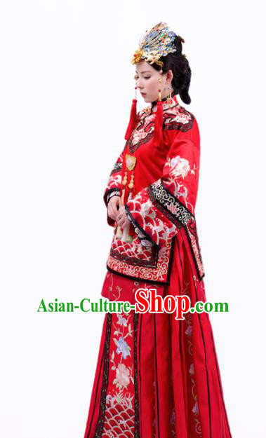 Asian Chinese Ancient Wedding Costumes Traditional Bride Xiuhe Suits Dresses and Headpiece Complete Set