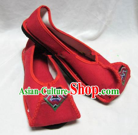 Asian Chinese Traditional Hanfu Shoes Red Canvas Shoes Embroidered Shoes for Women