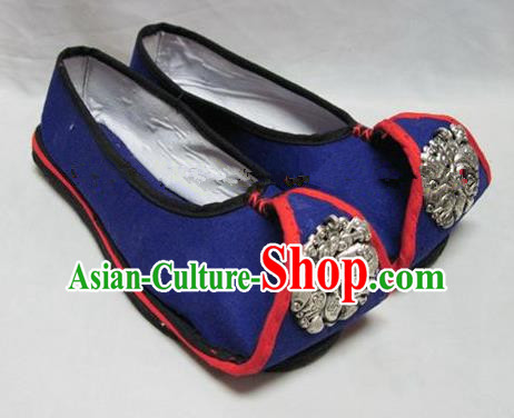 Asian Chinese Traditional Hanfu Shoes Ethnic Blue Embroidered Shoes for Women