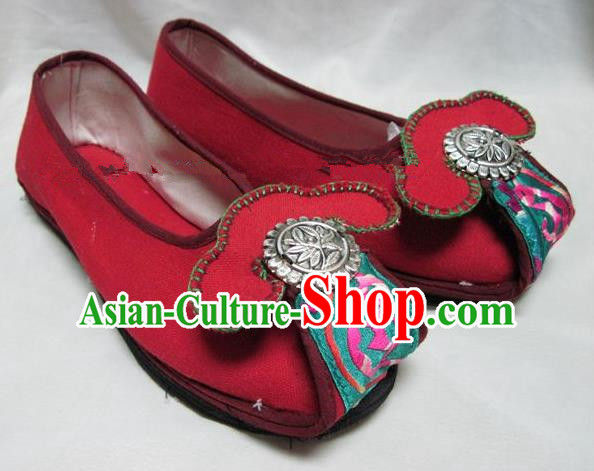 Asian Chinese Traditional Hanfu Shoes Ethnic Red Embroidered Shoes for Women