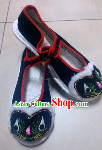 Asian Chinese Traditional Hanfu Shoes Ethnic Black Cloth Tiger Head Shoes for Women