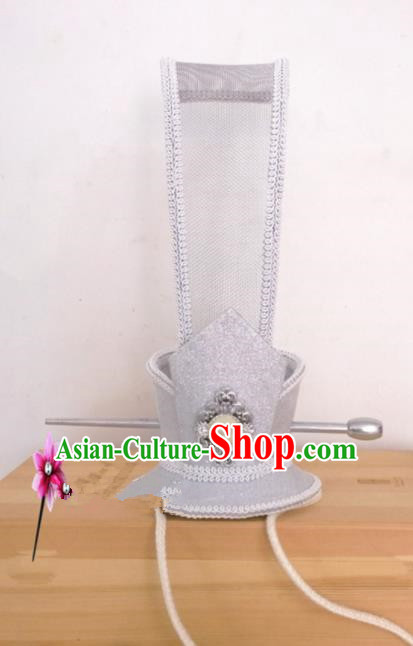 Chinese Traditional Hanfu Headdress Ancient Han Dynasty Prince White Tuinga Hairdo Crown for Men