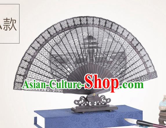 Chinese Traditional Crafts Sandalwood Folding Fans Pierced Temple of Heaven Fans Accordion Fan