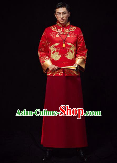 Chinese Traditional Wedding Red Costumes Ancient Bridegroom Toast Clothing for Men