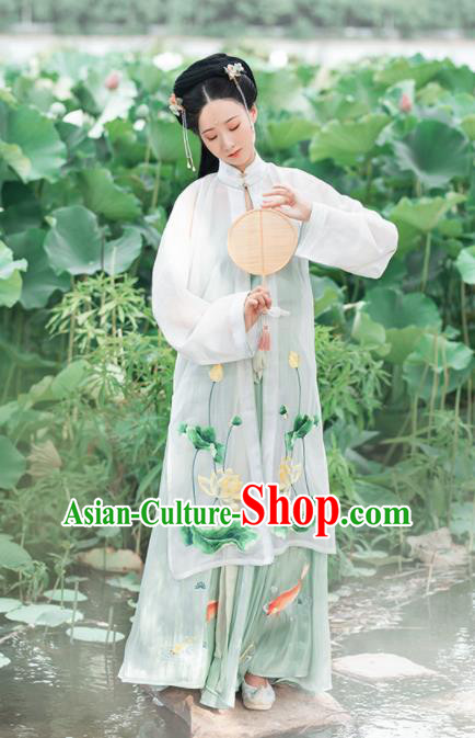 Chinese Ancient Princess Hanfu Dress Traditional Tang Dynasty Palace Lady Embroidered Lotus Costumes for Women
