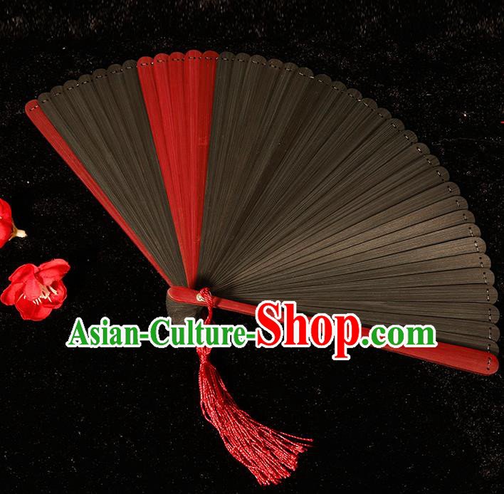 Chinese Traditional Crafts Black Bamboo Folding Fans Pierced Fans Accordion Fan