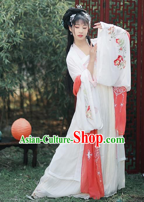 Chinese Ancient Drama Princess Embroidered Costumes Traditional Tang Dynasty Palace Lady Hanfu Dress for Women