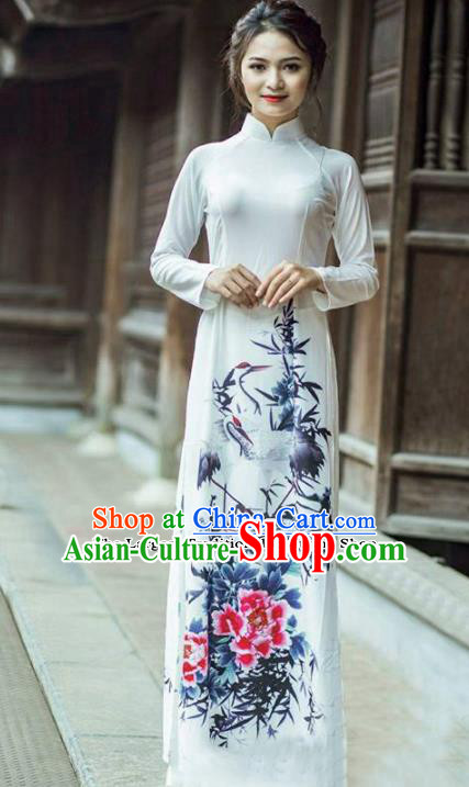 Asian Vietnam Traditional Printing Peony Cheongsam Vietnamese Classical Ao Dai Qipao Dress for Women