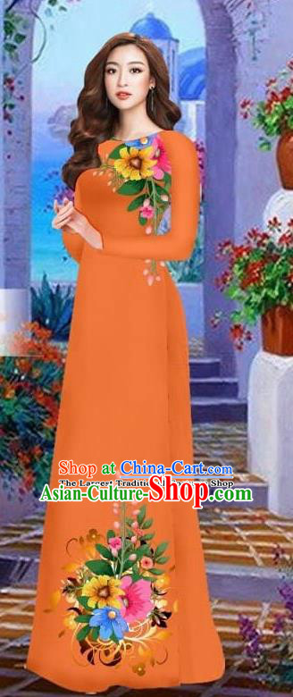Asian Vietnam Traditional Female Costume Vietnamese Orange Cheongsam Printing Ao Dai Qipao Dress for Women