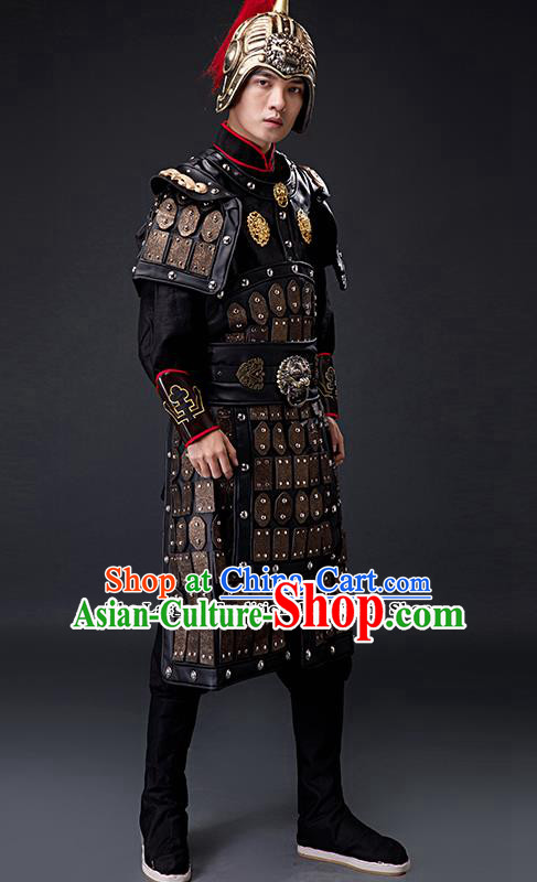 Chinese Ancient Drama Tang Dynasty General Helmet and Body Armour for Men