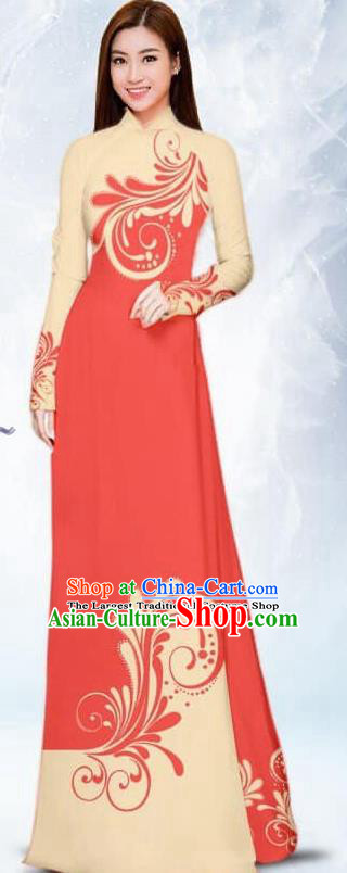 Asian Traditional Vietnam Female Costume Vietnamese Bride Watermelon Red Ao Dai Cheongsam for Women