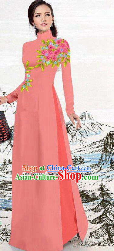 Asian Traditional Vietnam Female Costume Vietnamese Watermelon Red Ao Dai Cheongsam for Women