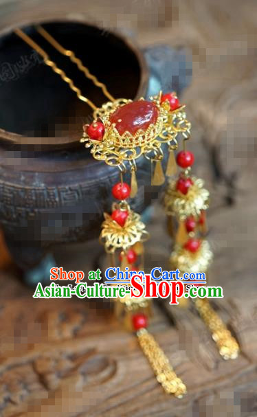 Chinese Ancient Wedding Hair Jewelry Accessories Palace Tassel Step Shake Agate Hairpins for Women