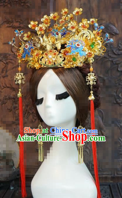 Chinese Ancient Wedding Hair Accessories Blueing Phoenix Coronet Palace Queen Hairpins for Women