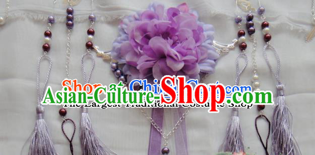 Chinese Traditional Classical Hair Accessories Ancient Princess Purple Flowers Phoenix Coronet Hairpins for Women